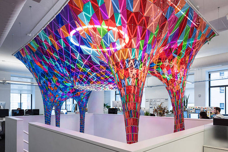 Colorful Stained Glass Installation by Softlab