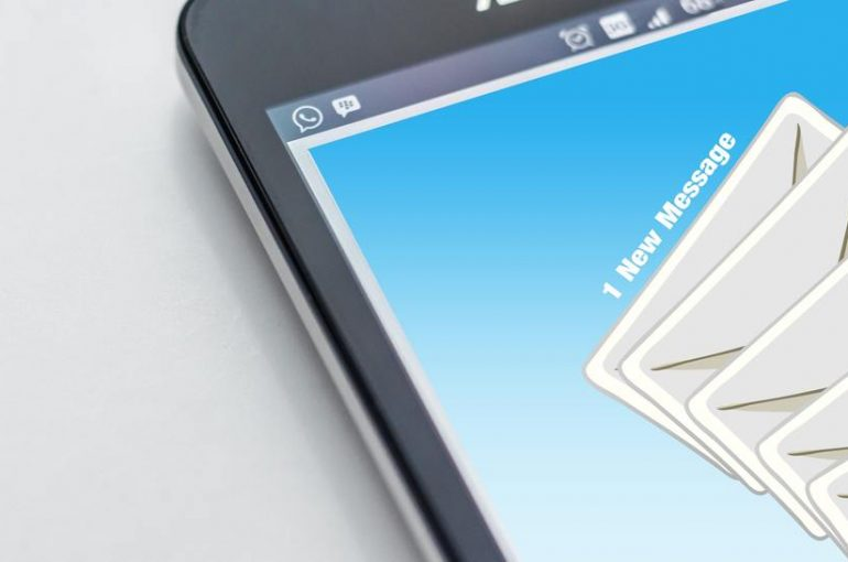 Smart phone with email icons on