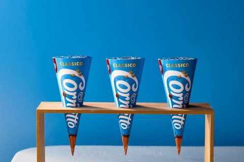 Cornetto rebrand, cones in wood holder