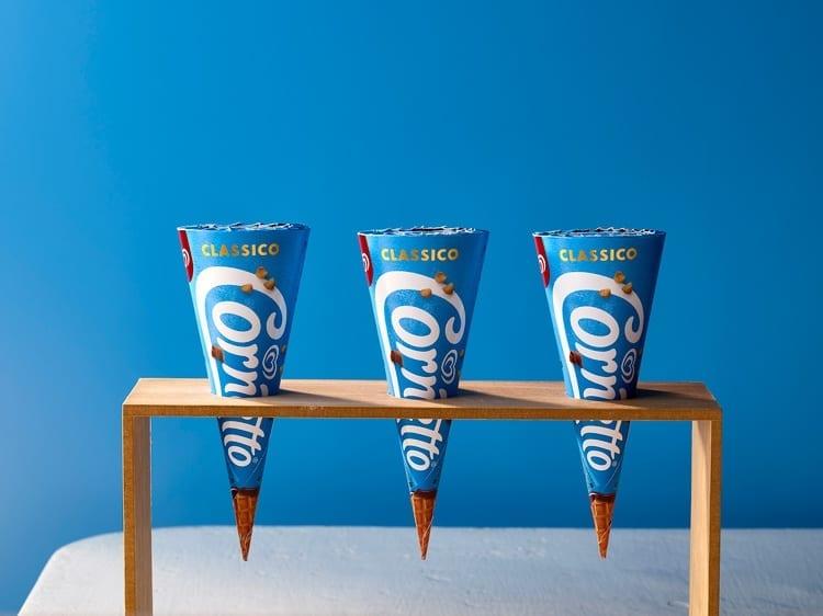 Cornetto rebrand, cones in wood holder