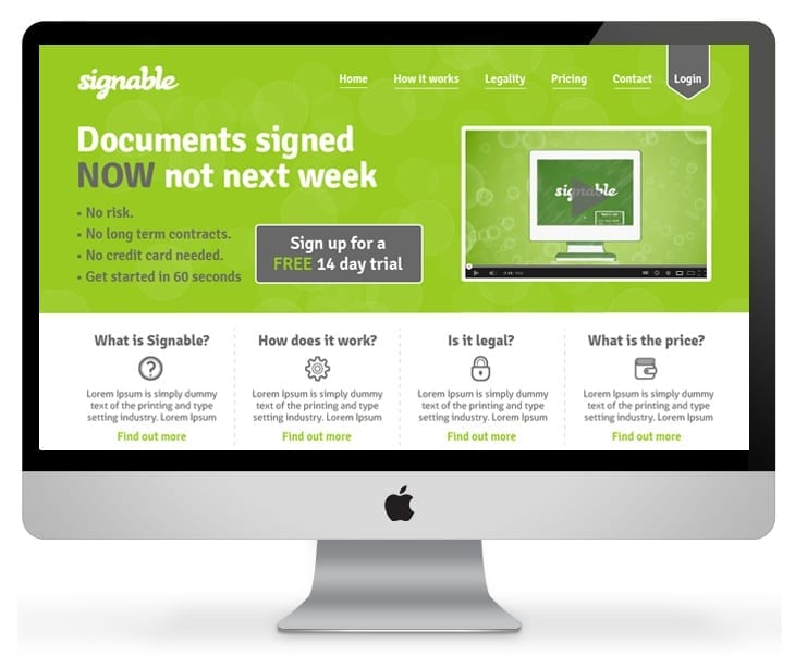 Signable Website design