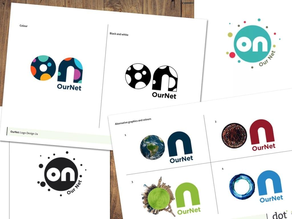 Ournet logo design concepts