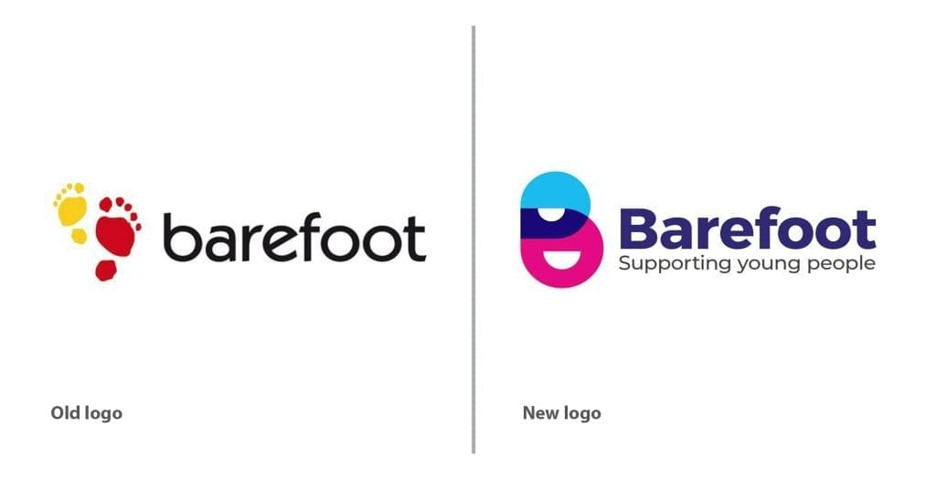 old and new barefoot logo